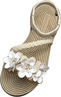 Inlefen Women's Sandals Sweet Flowers Sandals Non-Slip Outdoor Casual Shoes