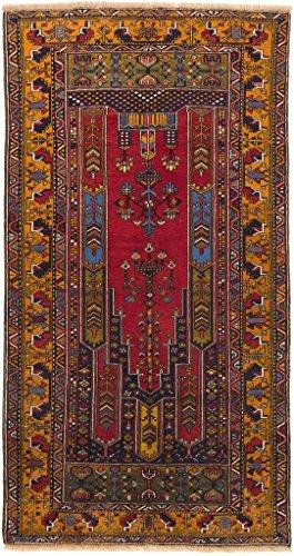 CarpetFine: Belutsch Teppich 136x258 Braun,Rot - Handgeknüpft - Orientalisch