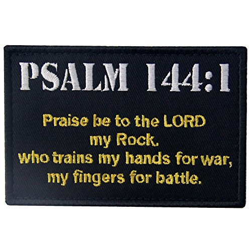 Táctico Psalm 144:1 BNW Combate moralidad Militar Broche Bordado de Gancho y Parche de Gancho y bucle de cierre