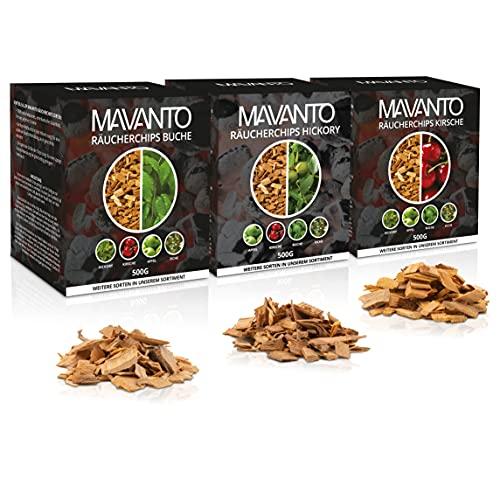 MAVANTO® XXL Profi Räucherchips für das perfekte Raucharoma - rauchintensive Holzchips aus den USA in 5 verschiedenen Sorten (3X 500g Set (Kirsche, Buche, Hickory))
