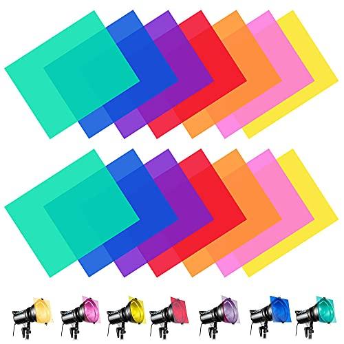 ANTHYTA 14 PCS Filtros de Colores de PVC Filtro de Corrección Filtro de Gel lluminación Gels Filtro de Luz de Gel 29,7 x 21cm Geles de corrección Filtro de Color de Iluminación para Leer Fotografiar