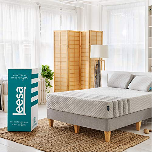 "Leesa Hybrid Mattress, Luxury Hybrid 11"" Mattress in a Box, CertiPUR-US Certified 3 Layer Spring/Memory Foam Construction, Queen, White & Gray"
