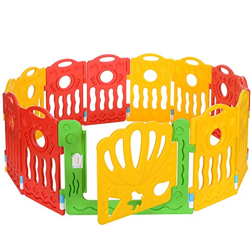 LCP Kids Boxi Laufgitter Baby Laufstall 12 Teilig, Erweiterbar, Rot Gelb
