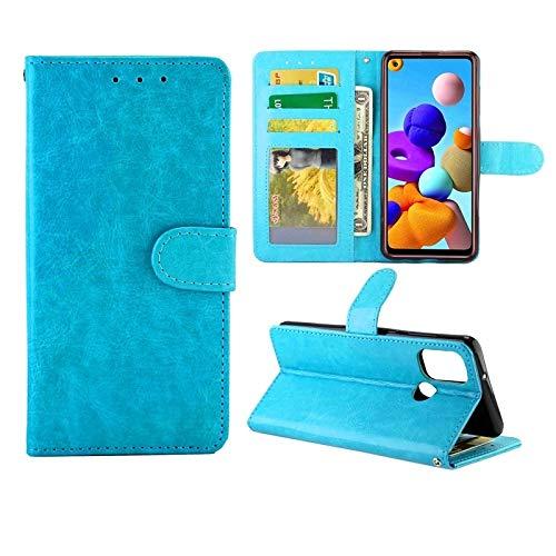 Xyamzhnn Teléfono Caja for la Galaxia de Samsung A21S Caso Protector de Cuero Vuelta Horizontal con el sostenedor y Ranuras for Tarjetas y Monedero y Marco de Fotos (Color : Baby Blue)