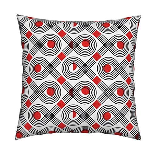 565pir Geometrisches Kissen Bauhaus Fisch Schwarz Rot Geometrische dekorative quadratische Kissenbezug