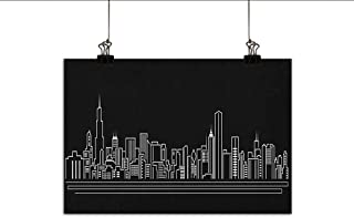 Littletonhome Chicago Skyline Living Room Decorative Painting Line Abstract Style Urban Silhouette of Popular American Town Office Print Modern Minimalist Atmosphere 20