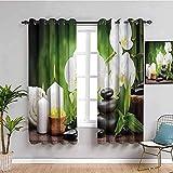 LucaSng Cortinas de Opacas - Blanco Flores Velas Rocas - 234x183 cm para Sala Cuarto Comedor Salon Cocina Habitación - 3D Impresión Digital con Ojales Aislamiento Térmico Cortinas