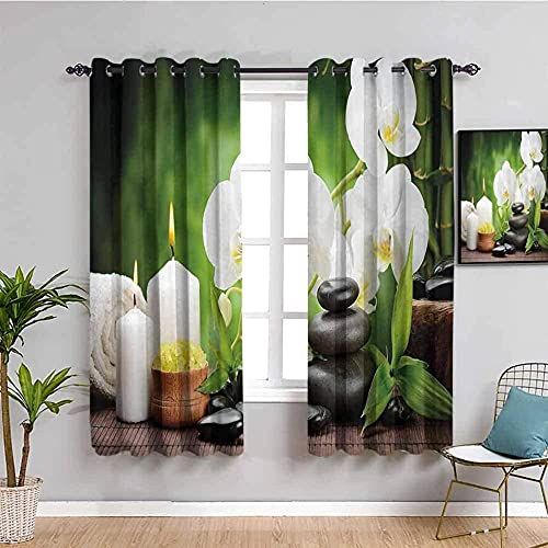 LucaSng Blackout Curtain Thermal Insulated - White flowers candles rocks - 110x63 inch for Bedroom Kitchen Living Room Boy Girl Window - 3D Digital Printing Eyelet Ring Curtain