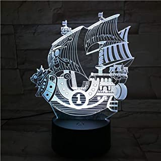 WoloShop Lampara LED One Piece Thousand Sunny Cambia Color USB Luz Nocturna