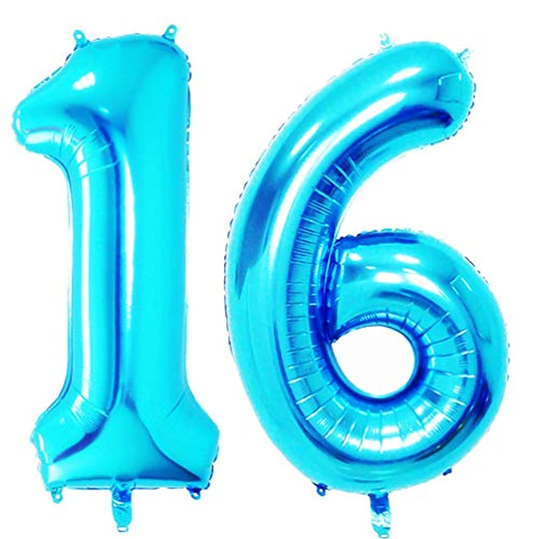 40 in Big Sweet 16 Number Balloons Blue Jumbo Number 16 Balloons for Sweet 16 Birthday Party Decorations by AZOWA (Blue, 40 in)