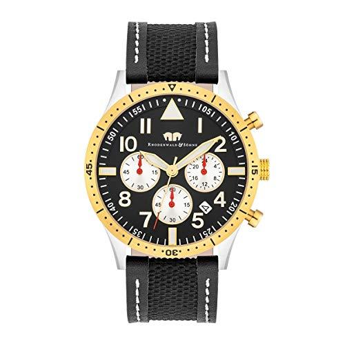 Rhodenwald & Söhne Reloj para Hombre análoga Japón Mecanismo de Cuarzo con Correa de Cuero auténtico/Textil 10010312
