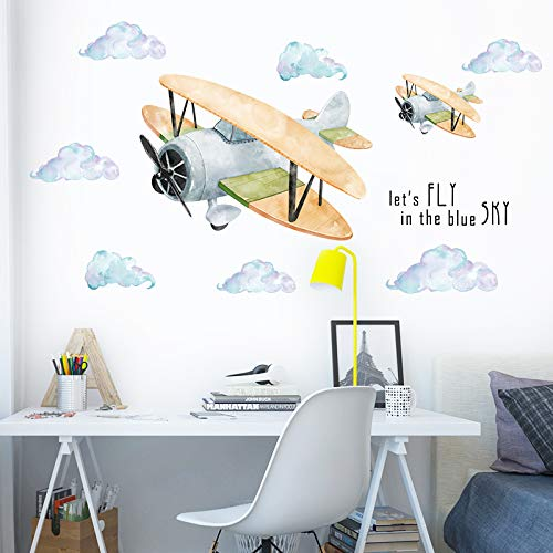 Kinderkamer Cartoon Vliegtuig Stickers Baby Slaapkamer Muurdecoratie Muurstickers Kleuterschool Klas lay-out Poster Papier