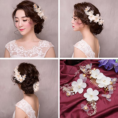 niumanery 1 Set Hair Clip Comb Bride White Wedding Flower Handmade Women Jewelry Hairpins