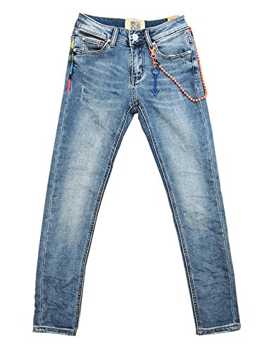Wiya Damen Stretch Jeans Hose Reißverschluss Freizeithose DY381 (XS)