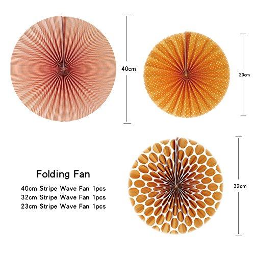 SUNBEAUTY Pack of 7 Tissue Paper Fans Collection Orange Paper Fans Party Photo Backdrop Decorations