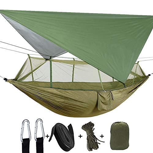 Camping Heavy Duty Hammock with Mosquito Net, Tent Tarp, Tree Straps Extra Pocket Waterproof Lightweight Gammock for Hiking Outdoor Travel Beach Survival Backyard (Dark Green+Green)