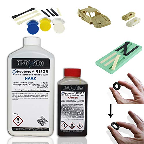 PU Gießharz Flex mit Härter | flexibles Schnellgießharz mit kurzer Verarbeitungszeit für filigrane Teile | Lösemittelfrei und geruchsarm | 2 Komponenten Resin zum Gießen | Polyurethan | HP-R15GB (1.3)