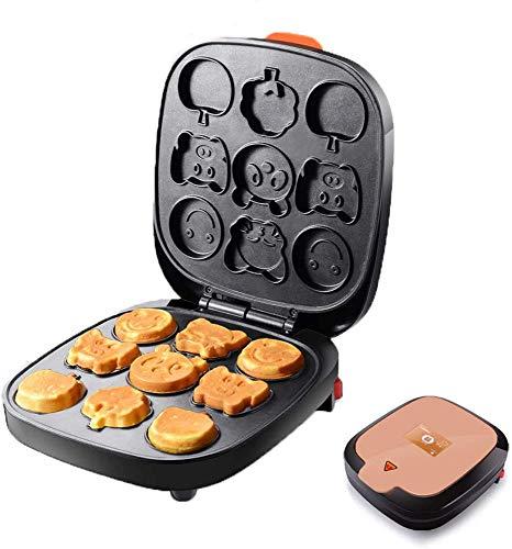 Cake Maker/wafelijzer Multi-Functionele Snack Maker met non-stick platen Snoerwikkeling Waffle Makers met 9 Cartoon Mold voor Kinderen,Brown