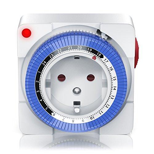 Mechanische Zeitschaltuhr - 24 Stunden Anaolg Timer - Steckdosen-Schaltuhr - Zeitprogrammstecker mit 96 Schaltsegmenten - Schieberegler für Zeitangabe - 3680W
