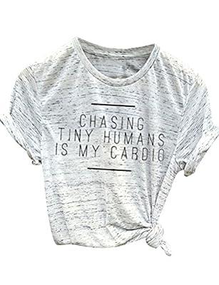 Ezcosplay Women Loose Summer White Short Sleeve T-Shirt Funny Letter Tops Tee