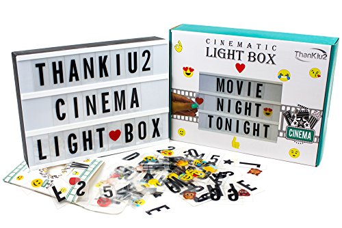 Cinema Light Box with Letters - Vintage Cinematic Light Up Message And Note Sign With 240 Letters, Numbers, Symbols & Emojis – Personalized A4 White LED Lightbox With Extra Long Durable USB Cable