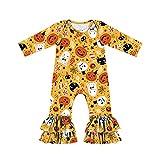 KameyouForever Mono de manga larga para niños y niñas, para Halloween, mono de calabaza de una sola pieza de dibujos animados para niños y niñas, amarillo, 5-6 Años