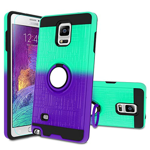 Atump Galaxy Note 4 Case, Note 4 Phone Case with HD Screen Protector, 360 Degree Rotating Ring Holder Kickstand Bracket Cover Phone Case for Samsung Galaxy Note 4 Mint/Purple
