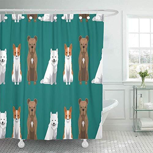 /N Cortina de Ducha Decorativa Animal Perro Dibujos Animados Samoyedo Borde Raza Canino Cimarron Uruguayo Collie Cortinas de Ducha de baño Impermeables Lindas