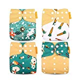 Wenosda 4PCS Baby Cloth Diaper Pocket Nappies Washable Reusable Diapers Insert All-in-One Pocket Nappy for Most Babies and Toddlers (Green + Coffee Rabbit, Radish)
