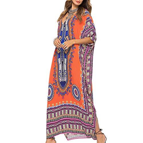 Tyidalin Damen Kaftan Sommer Strandkleid Lang Übergröße Strandponcho Tunika Maxi Pareo Boho Kimono Blumendruck (Farbe 5)