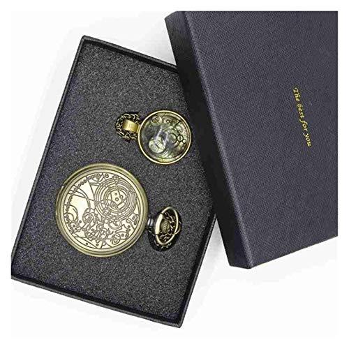 Relojes de bolsillo, reloj de bolsillo vintage con bolsillo de cuarzo pulido para hombre con caja (color 005)