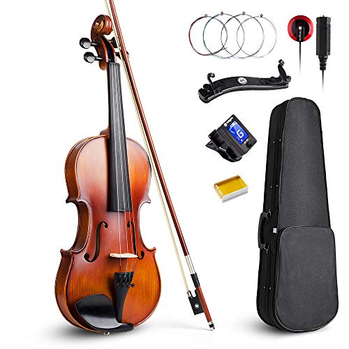 Vangoa Acoustic Violin 4/4, Spruce Top & Ebony Fitting, Solid Wood Violin Outfit for Beginners, 4/4 Full size