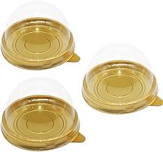 EchoDone 50 Set Clear Plastic Mini Cupcake Boxes Muffin Pod Dome Muffin Single Container Box Wedding Birthday Boxes (Gold)