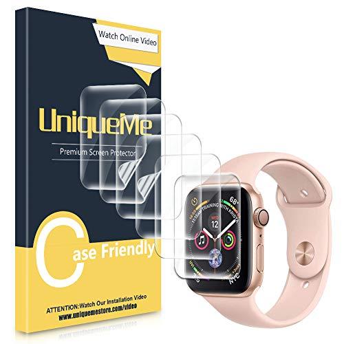 UniqueMe [6Stück] schutzfoliefürAppleWatch Series 5/4 44mmFolie,Apple Watch 42mm Serie 3 [FlexibleFolie]SoftHDTPUKlarBildschirmschutzBildschirmschutzfolie