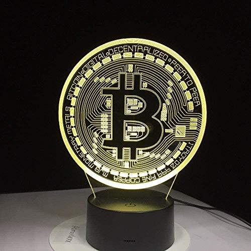Nachtlicht für kinder farbwechsel dekor lampe Bitcoin-Logo,Wird für die Schlafzimmerdekoration verwendet Weihnachtsgeburtstagsgeschenke für Kinder - Berührungsschalter