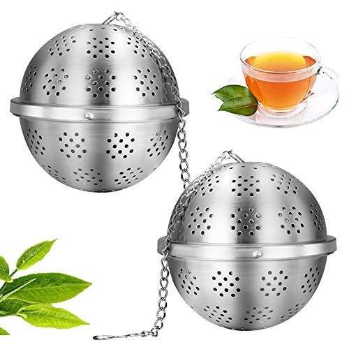 Dos coladores de té redondos,bolas de especias duraderas,relleno fino,huevos de té,bolas de especias de acero inoxidable 304,bolsa de sopa,a granel,té suelto y especias(con llave,plateado)