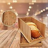 Bambus Holz Faltbare Brotschneidemaschine Kompakte Dicke Einstellbare Brotschneideführung mit Krümelfangschale für selbstgebackenes Brot, Faltbar und kompakt mit Krümelfangschale funktioniert - 2