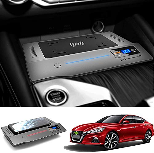 ZJYSM Cargador de automóvil inalámbrico para Nissan Teana 2019 2020 2021, 15W QC3.0 Cargador de teléfono de Carga rápida con 18W USB Puerto PD para iPhone 12 Pro Mini 11 / XS MAX/XR