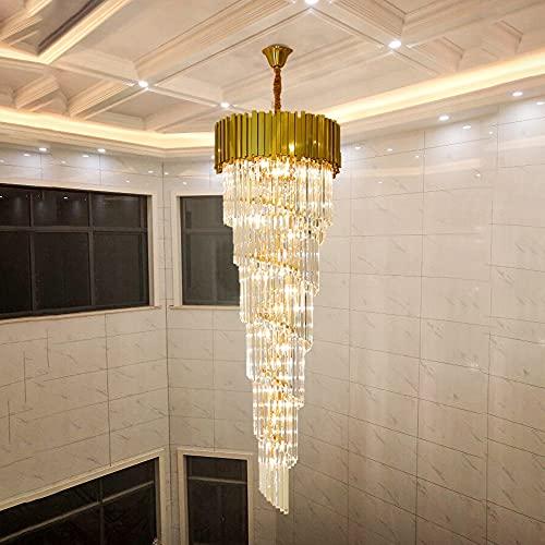 JINKEBIN Araña de Hotel teatro villa grande lámpara de araña iluminación lujo acero inoxidable múltiples capas superior lámpara de cristal largo lustres lustres lustres (Emitting Color : Warm White)
