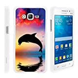Compatible with Samsung Galaxy Grand Prime Case | G530 | Go Prime [Slim Duo] Hard Shell Snap On Case Compact Fit Cover Matte on White Sea Ocean Design by TurtleArmor - Dolphin Jump