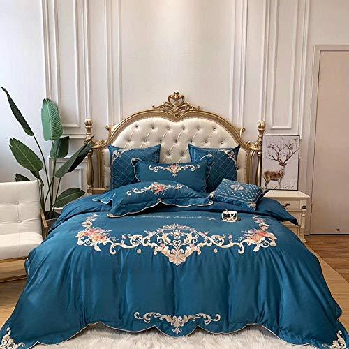 Juegos de fundas para edredón,Bordado de estilo europeo 60 piezas de seda lavada de cuatro piezas de color sólido funda nórdica de seda de hielo sábanas de algodón ropa de cama desnuda sedosa-