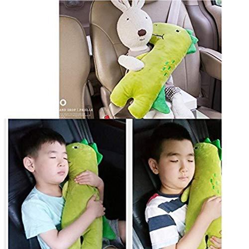 AMOYER Coussin Seat Belt Sangle Car Cover pour Les Enfants Les Enfants, réglable Pad Oreiller Voiture de sécurité du véhicule Ceinture Toy Pet Protect épaule Enfant Thoracique (DinoGreen)