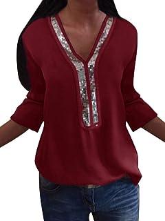 6c692a7e615aa ORANDESIGNE Chemisier Femmes avec Paillettes Shirt Couleur Unie Blouse Col  en V Tops T-Shirt