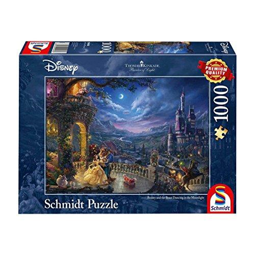 Schmidt Spiele Puzzle 59484 - Thomas Kinkade, Disney Die Schöne und das Biest, Tanz im Mondlicht, 1.000 Teile Puzzle