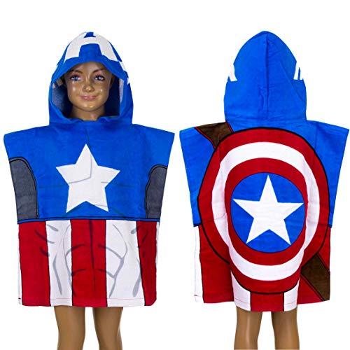 Toalla poncho niño Marvel Avengers Capitán América 100% algodón 55 x 110 cm