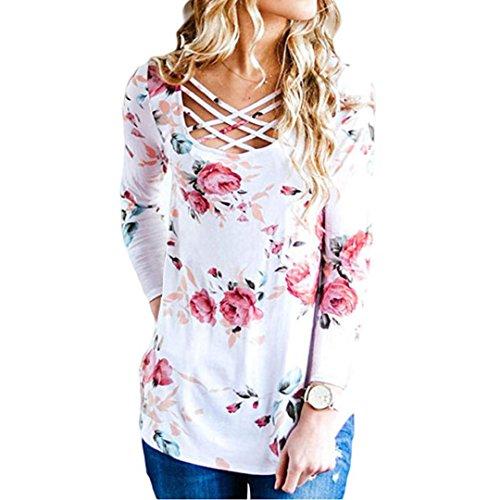 Toamen Femmes T-shirt, imprimé floral à manches longues Blouse Haut à manches longues entrelacé imprimé (XL, blanc)