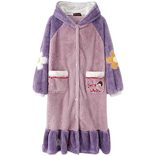 YANGPANGZI Schneewittchen Nachthemd Flanell Kapuze Lange Herbst und Winter Plüsch Korallen Fleece Pyjama Hotelstil Bademantel