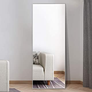 NeuType Full Length Mirror Floor Mirror with Standing Holder Bedroom/Locker Room Standing/Hanging Mirror Dressing Mirror (Silver)