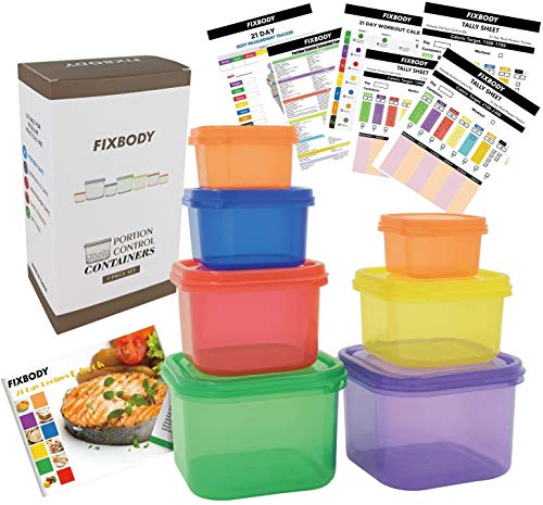 FIXBODY Portion Control Containers, Color-Coded Labeled, 7 Pieces, 21 Day Lose Weight System (Use Guide, 21 Day Tracker and Recipe Ebook Include)
