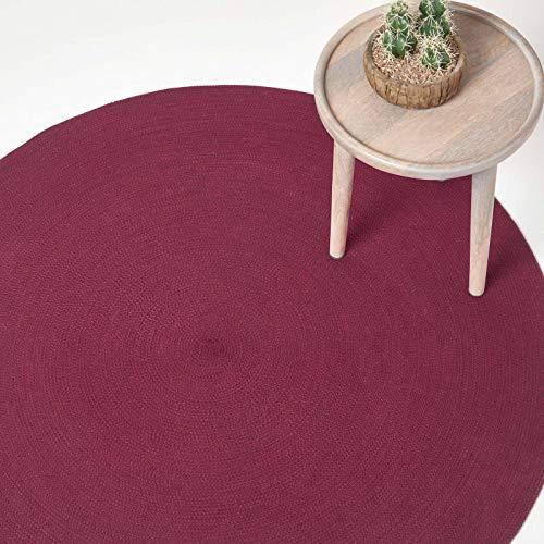 HOMESCAPES Tapis Rond Artisanal tissé à Plat en Coton Prune pour la Chambre ou Le Salon, 120 cm